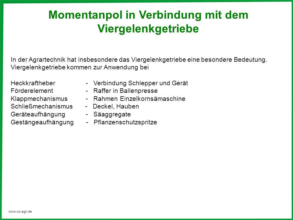 www.cc-agri.de Momentanpol in Verbindung mit dem Viergelenkgetriebe In der Agrartechnik hat insbesondere das Viergelenkgetriebe eine besondere Bedeutu