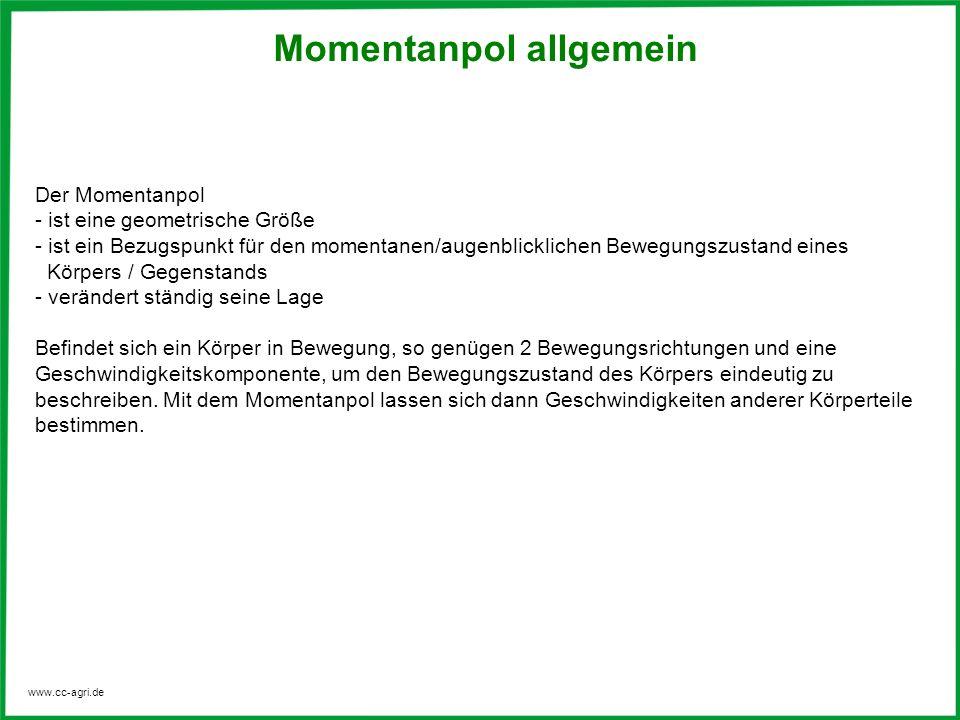 www.cc-agri.de Momentanpol allgemein Der Momentanpol - ist eine geometrische Größe - ist ein Bezugspunkt für den momentanen/augenblicklichen Bewegungs