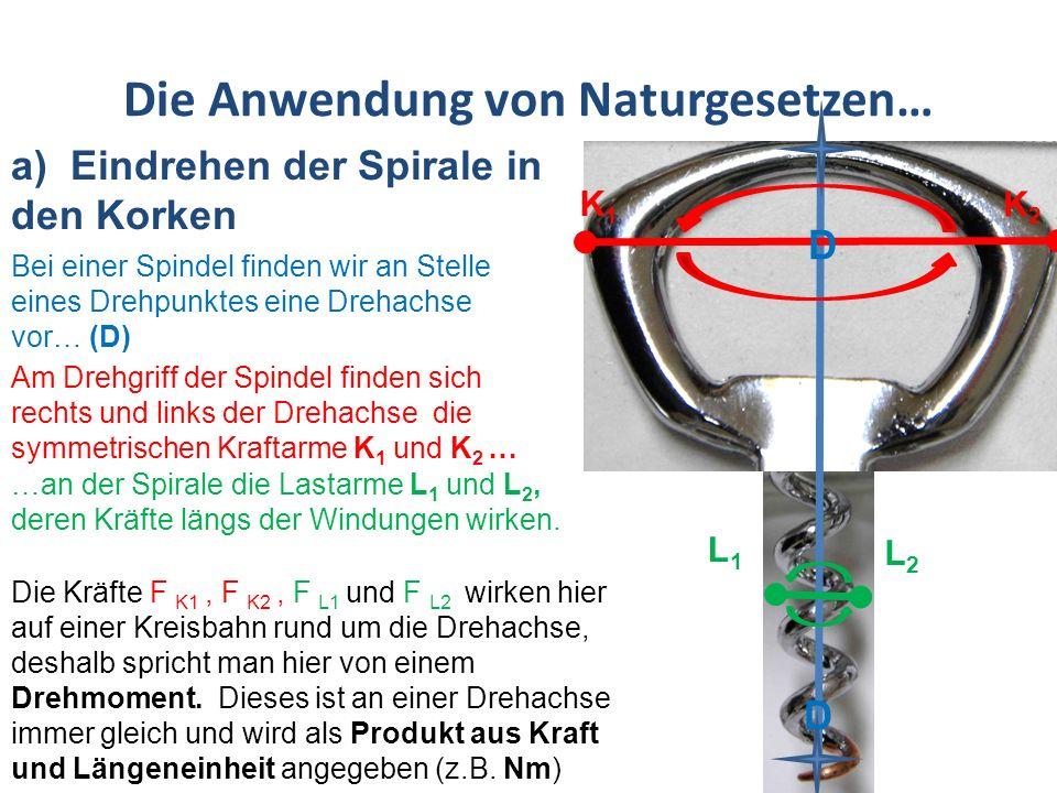 Die Anwendung von Naturgesetzen… a) Eindrehen der Spirale in den Korken Bei einer Spindel finden wir an Stelle eines Drehpunktes eine Drehachse vor… (