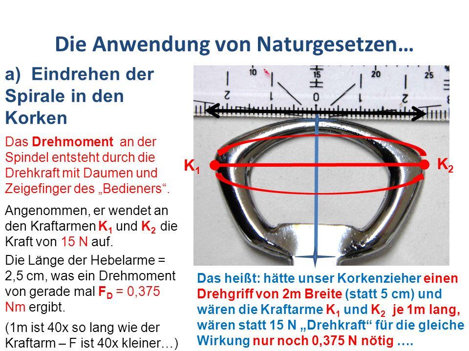 Die Anwendung von Naturgesetzen… a) Eindrehen der Spirale in den Korken Am unteren Ende der Spindel, an der Spirale, sieht die Rechnung nun anders aus – hier wird die Goldene Regel der Mechanik beim Drehmoment wirksam.