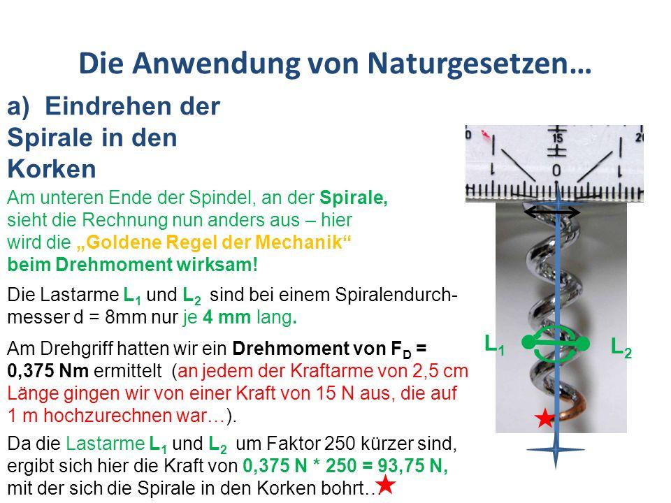 Die Anwendung von Naturgesetzen… a)Eindrehen der Spirale in den Korken – Zusammenfassung L1L1 L2L2 Lastarme L 1 und L 2 sind je 4 mm lang.