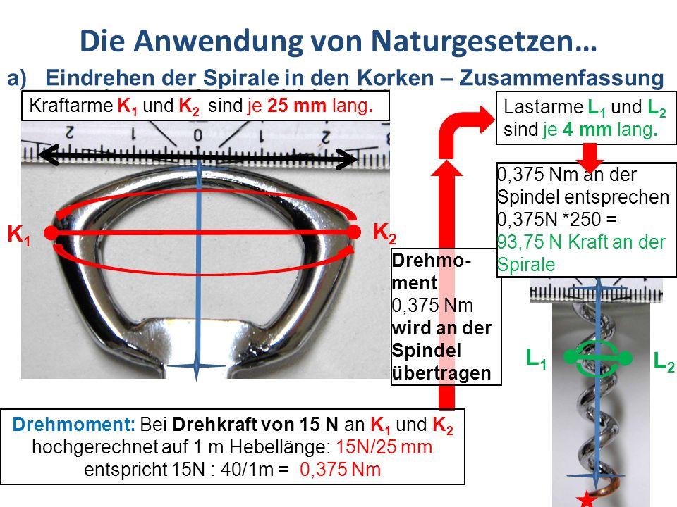 Die Anwendung von Naturgesetzen… b) Das Heben des Korkens aus der Flasche Nach der Eindrehen der Spirale in den Korken ist die Spindel am tiefsten Punkt.