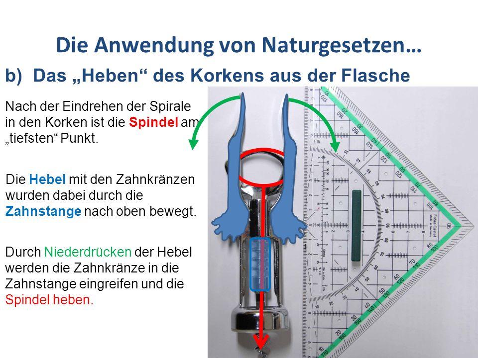 Die Anwendung von Naturgesetzen… b) Das Heben des Korkens aus der Flasche Bei den beiden Hebern des Patentkorkenziehers handelt es sich um zweiseitige Hebel mit Drehpunkt zwischen Kraftarm und Lastarm.