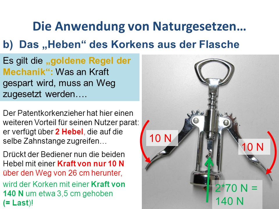 Das Patente am Patentkorkenzieher… Durch den im Verhältnis zur Spirale großen Drehgriff ermöglicht er, ein Drehmoment zu erzeugen, das die Spitze der Spirale leicht in den Korken eindringen lässt ….