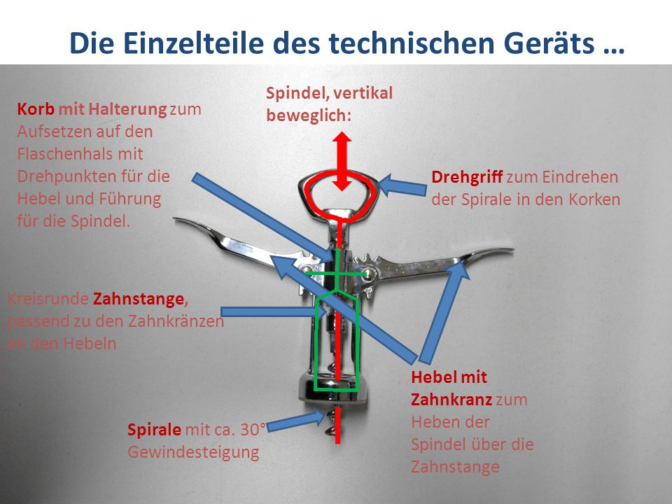 Die Einzelteile des technischen Geräts … Drehgriff zum Eindrehen der Spirale in den Korken Spindel, vertikal beweglich: Hebel mit Zahnkranz zum Heben