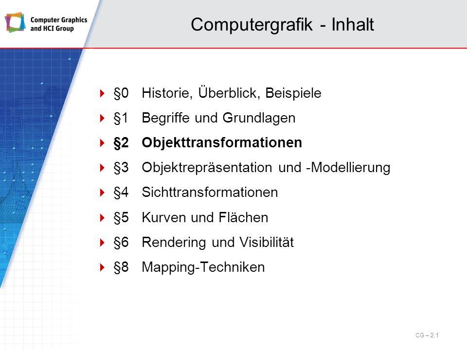 2.1 Motivation Wichtige Grundlage der Bildwiedergabe auf dem Bildschirm oder anderen Ausgabegeräten sind Koordinatensysteme und Koordinaten- transformationen im IR 2 und IR 3.