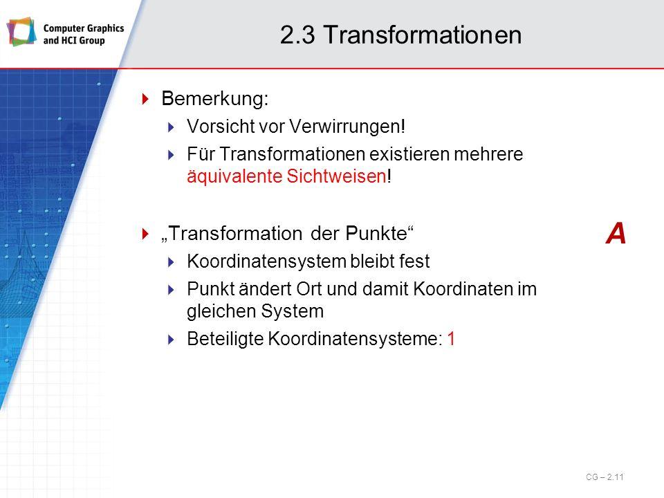 2.3 Transformationen Bemerkung: Vorsicht vor Verwirrungen! Für Transformationen existieren mehrere äquivalente Sichtweisen! Transformation der Punkte