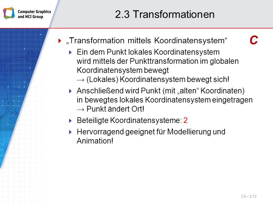 2.3 Transformationen Transformation mittels Koordinatensystem Ein dem Punkt lokales Koordinatensystem wird mittels der Punkttransformation im globalen