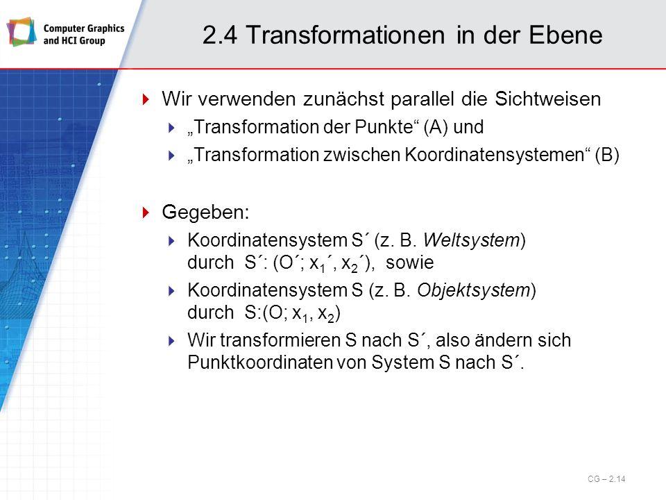 2.4 Transformationen in der Ebene Wir verwenden zunächst parallel die Sichtweisen Transformation der Punkte (A) und Transformation zwischen Koordinate