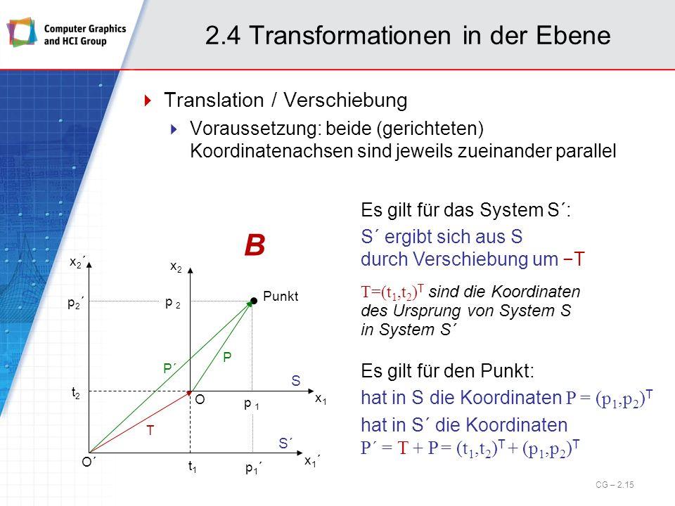 2.4 Transformationen in der Ebene Translation / Verschiebung Voraussetzung: beide (gerichteten) Koordinatenachsen sind jeweils zueinander parallel O´