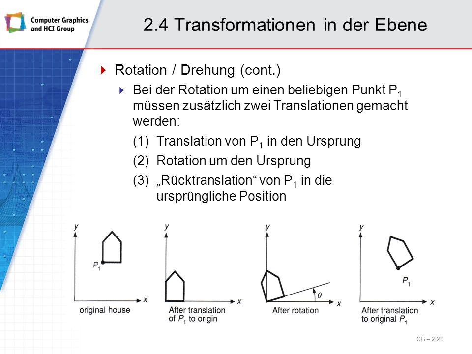 2.4 Transformationen in der Ebene Rotation / Drehung (cont.) Bei der Rotation um einen beliebigen Punkt P 1 müssen zusätzlich zwei Translationen gemac