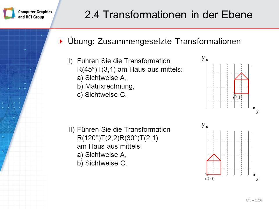 2.4 Transformationen in der Ebene Übung: Zusammengesetzte Transformationen x y (2,1) I)Führen Sie die Transformation R(45°)T(3,1) am Haus aus mittels: