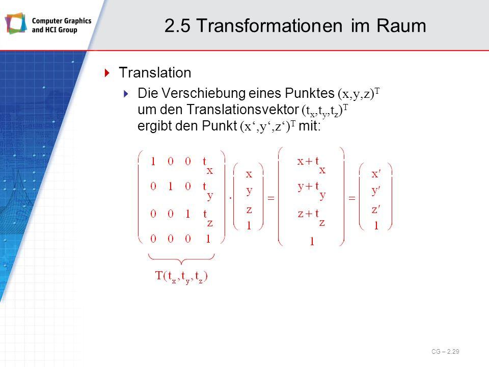 2.5 Transformationen im Raum Translation Die Verschiebung eines Punktes (x,y,z) T um den Translationsvektor (t x,t y,t z ) T ergibt den Punkt (x,y,z)