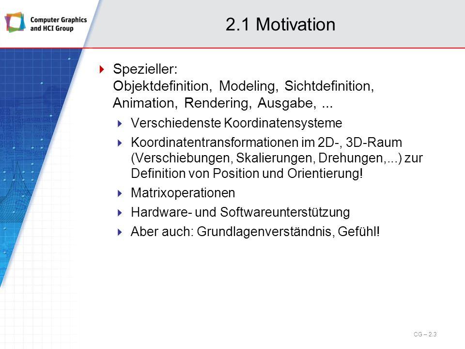 2.5 Transformationen im Raum Einschub: Affine Transformationen (cont.) Einige zusätzliche affine 2D-Transformationen Reflexion an der Geraden y=x: Reflexion an der x-Achse: Reflexion an der y-Achse: Reflexion am Ursprung: CG – 2.44