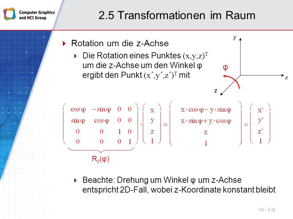2.5 Transformationen im Raum Rotation um die z-Achse Die Rotation eines Punktes (x,y,z) T um die z-Achse um den Winkel φ ergibt den Punkt (x´,y´,z´) T