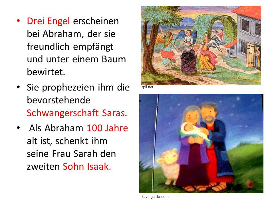 Drei Engel erscheinen bei Abraham, der sie freundlich empfängt und unter einem Baum bewirtet.