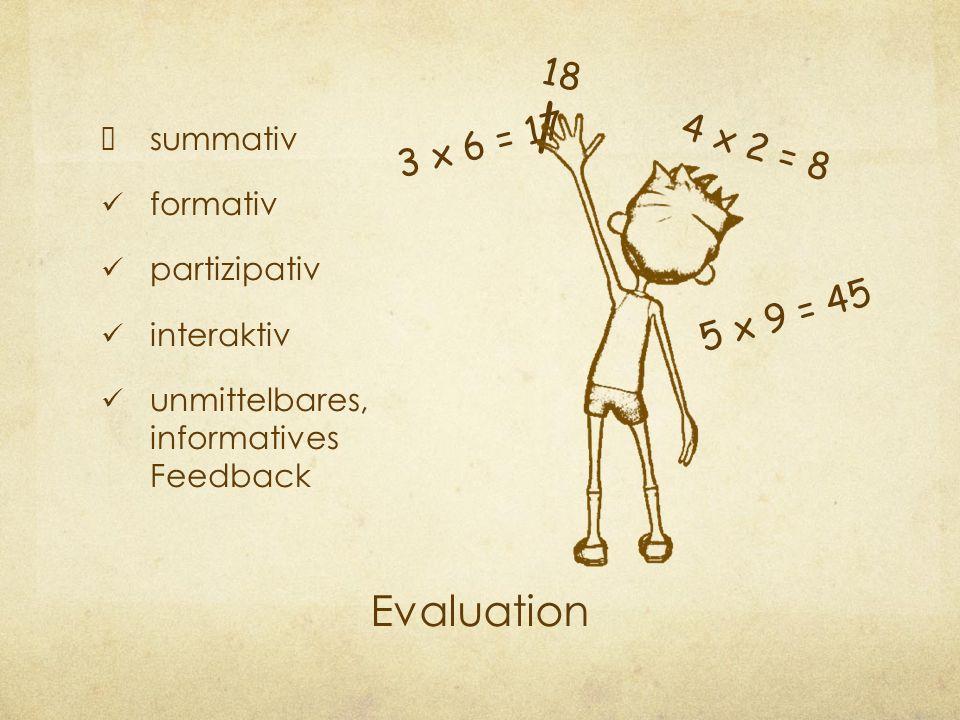 Evaluation summativ formativ partizipativ interaktiv unmittelbares, informatives Feedback 3 x 6 = 17 4 x 2 = 8 5 x 9 = 45 / 18