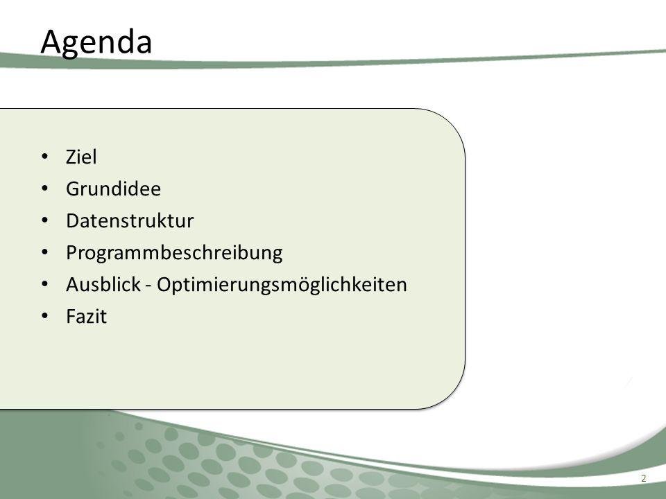 Ziel Grundidee Datenstruktur Programmbeschreibung Ausblick - Optimierungsmöglichkeiten Fazit Agenda 2