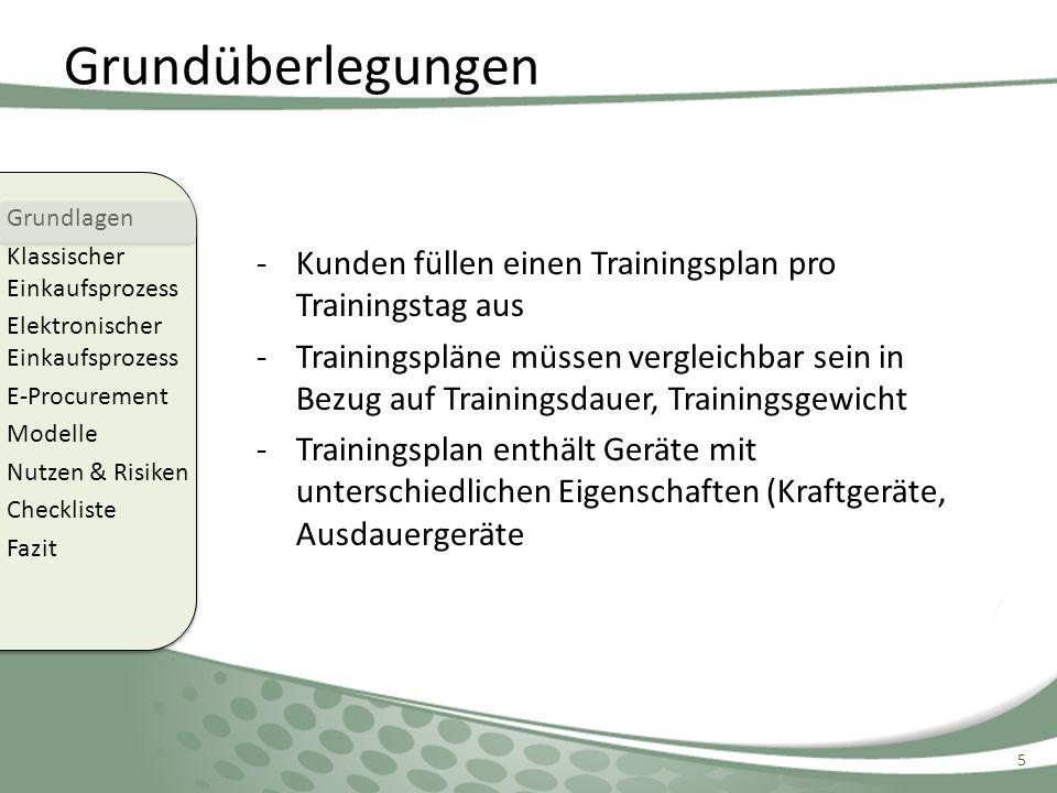 Grundüberlegungen -Kunden füllen einen Trainingsplan pro Trainingstag aus -Trainingspläne müssen vergleichbar sein in Bezug auf Trainingsdauer, Traini