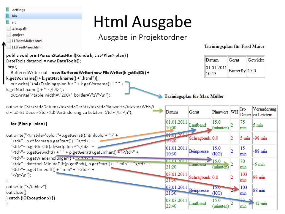 public void printPersonStatusHtml(Kunde k, List plan) { DateTools datetool = new DateTools(); try { BufferedWriter out = new BufferedWriter(new FileWr