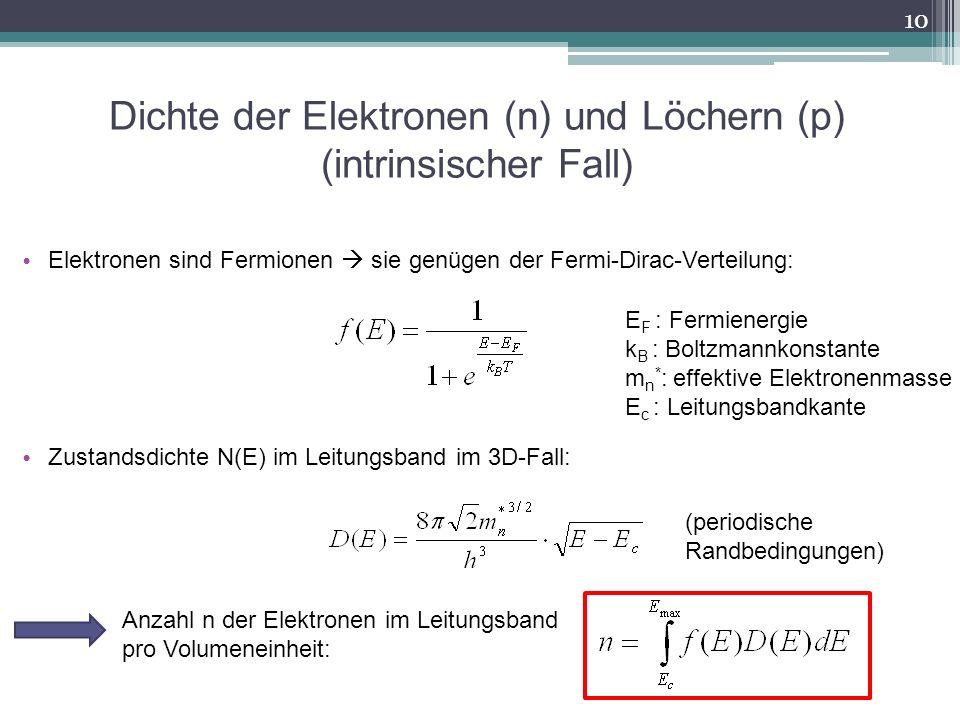 Dichte der Elektronen (n) und Löchern (p) (intrinsischer Fall) Elektronen sind Fermionen sie genügen der Fermi-Dirac-Verteilung: Zustandsdichte N(E) i