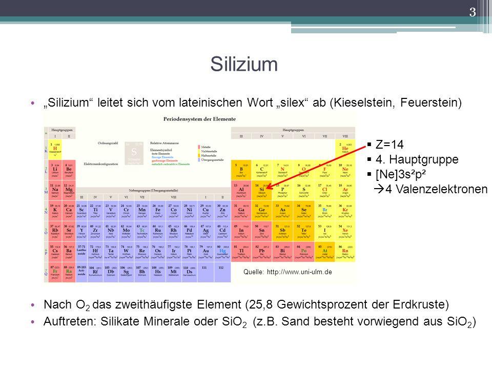 Silizium Silizium leitet sich vom lateinischen Wort silex ab (Kieselstein, Feuerstein) Nach O 2 das zweithäufigste Element (25,8 Gewichtsprozent der E