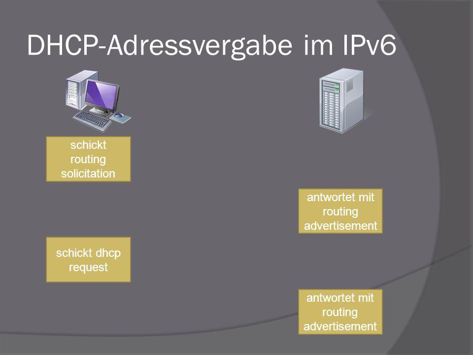 DHCP-Adressvergabe im IPv6 schickt routing solicitation antwortet mit routing advertisement schickt dhcp request antwortet mit routing advertisement