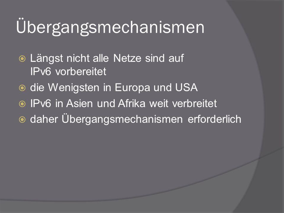 Übergangsmechanismen Längst nicht alle Netze sind auf IPv6 vorbereitet die Wenigsten in Europa und USA IPv6 in Asien und Afrika weit verbreitet daher