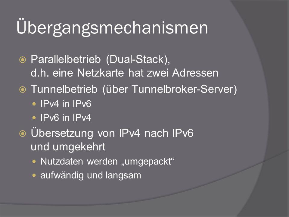 Übergangsmechanismen Parallelbetrieb (Dual-Stack), d.h. eine Netzkarte hat zwei Adressen Tunnelbetrieb (über Tunnelbroker-Server) IPv4 in IPv6 IPv6 in