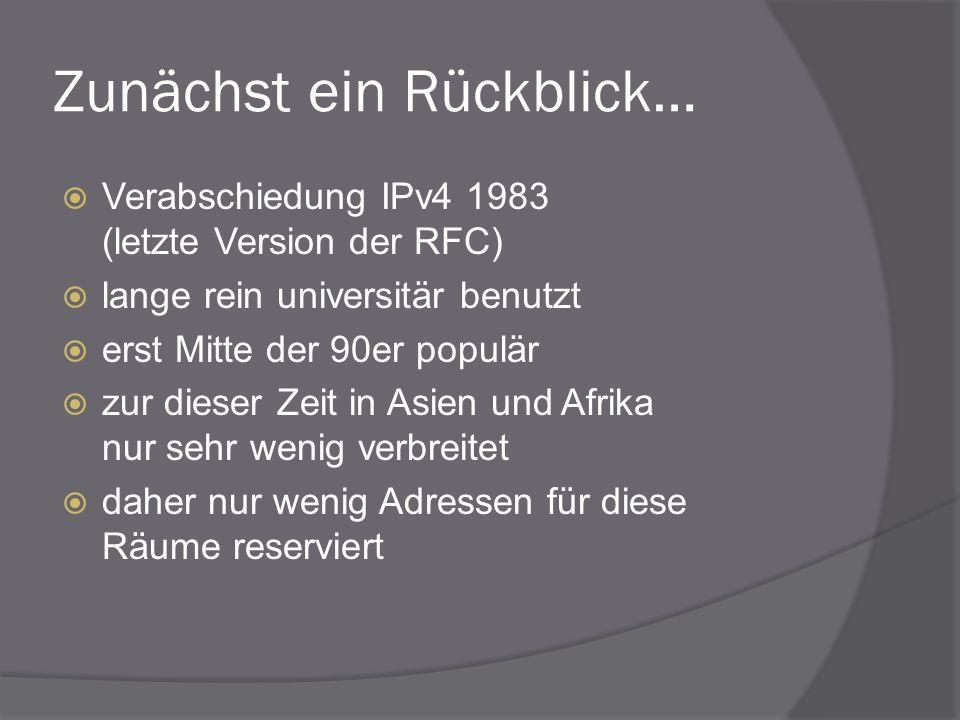 Zunächst ein Rückblick… Verabschiedung IPv4 1983 (letzte Version der RFC) lange rein universitär benutzt erst Mitte der 90er populär zur dieser Zeit i