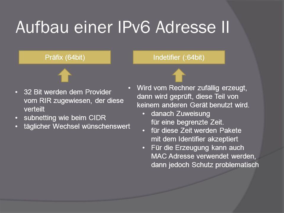 Aufbau einer IPv6 Adresse II Präfix (64bit)Indetifier (:64bit) Wird vom Rechner zufällig erzeugt, dann wird geprüft, diese Teil von keinem anderen Ger