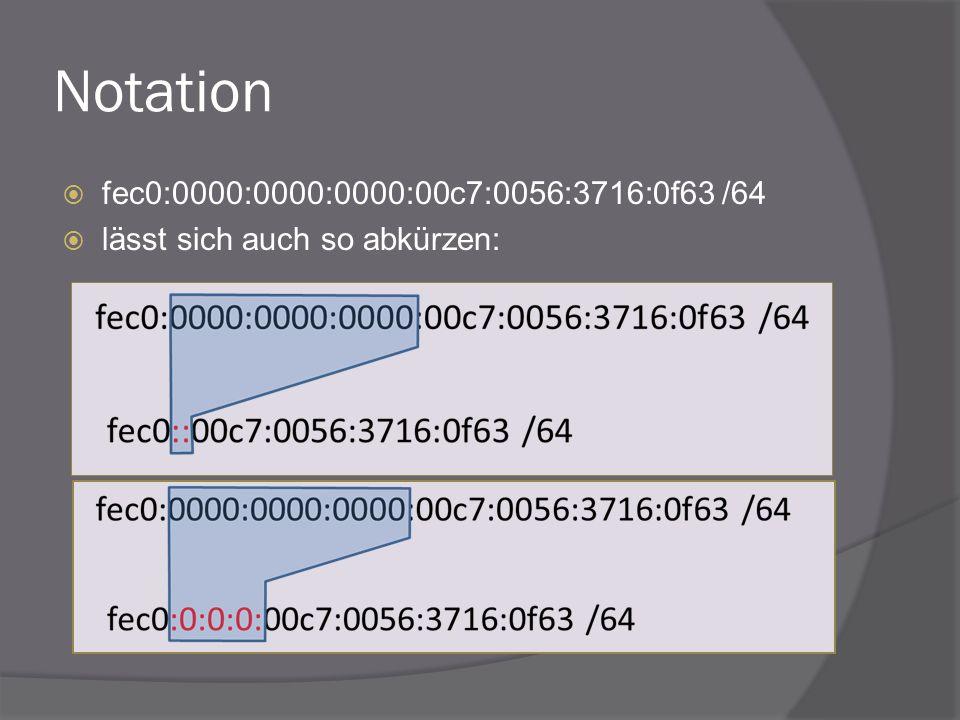 Notation fec0:0000:0000:0000:00c7:0056:3716:0f63 /64 lässt sich auch so abkürzen: