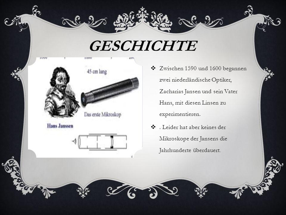 Zwischen 1590 und 1600 begannen zwei niederländische Optiker, Zacharias Jansen und sein Vater Hans, mit diesen Linsen zu experimentieren..