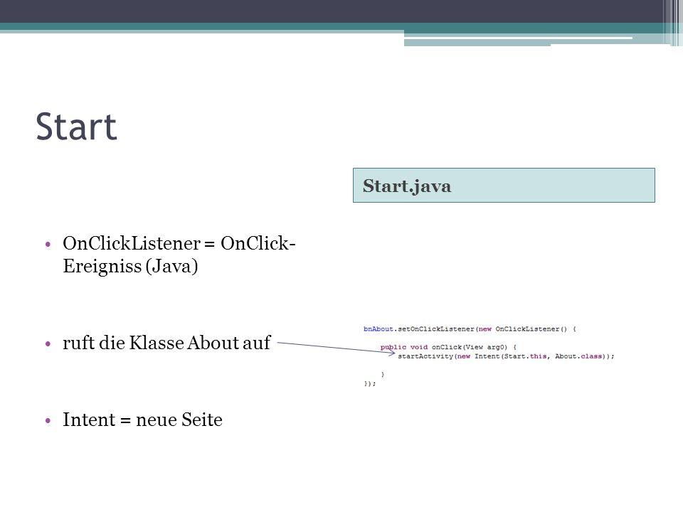 Start Start.java OnClickListener = OnClick- Ereigniss (Java) ruft die Klasse About auf Intent = neue Seite