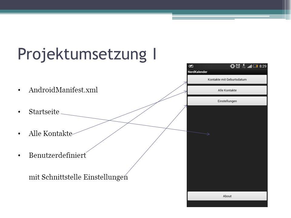 Projektumsetzung I AndroidManifest.xml Startseite Alle Kontakte Benutzerdefiniert mit Schnittstelle Einstellungen