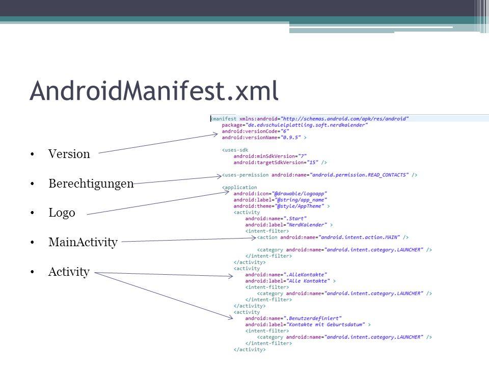 AndroidManifest.xml Version Berechtigungen Logo MainActivity Activity