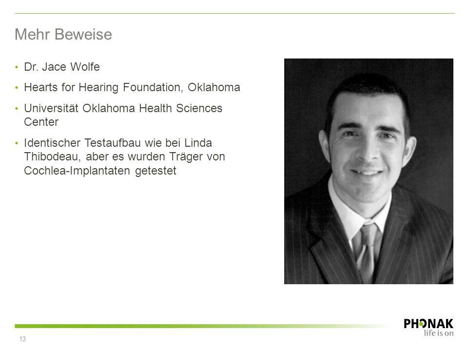 Mehr Beweise Dr. Jace Wolfe Hearts for Hearing Foundation, Oklahoma Universität Oklahoma Health Sciences Center Identischer Testaufbau wie bei Linda T