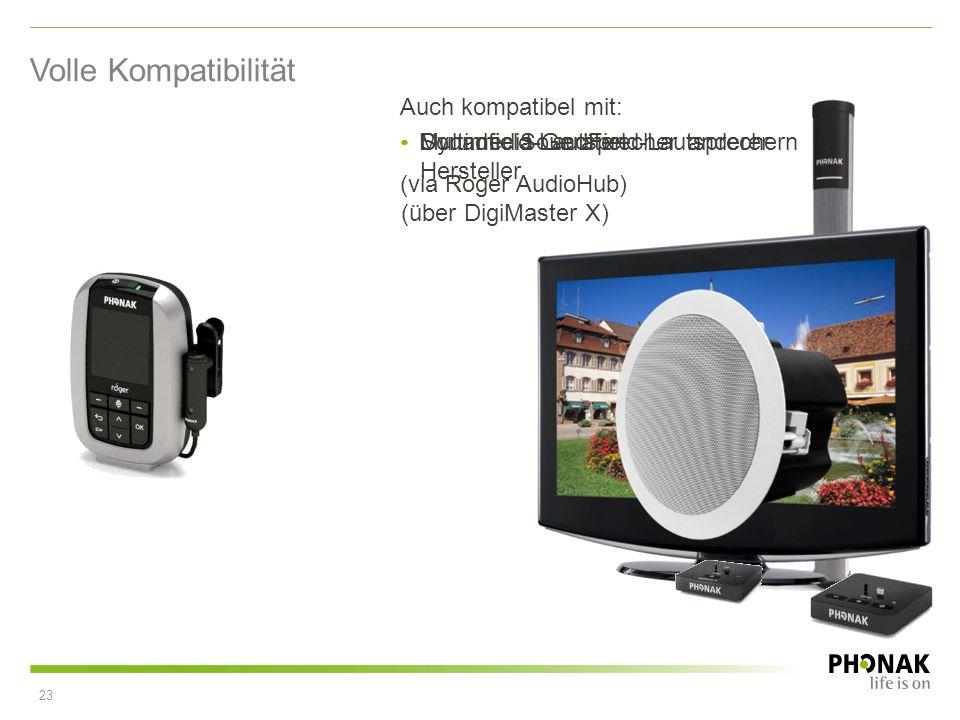 Dynamic SoundField-Lautsprechern Volle Kompatibilität Multimedia-Geräten (via Roger AudioHub) Soundfield-Lautsprecher anderer Hersteller (über DigiMas
