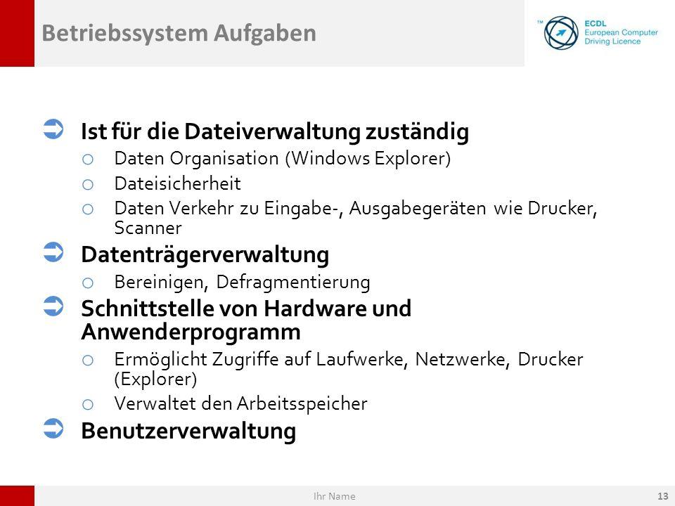 Betriebssystem Aufgaben Ist für die Dateiverwaltung zuständig o Daten Organisation (Windows Explorer) o Dateisicherheit o Daten Verkehr zu Eingabe-, A