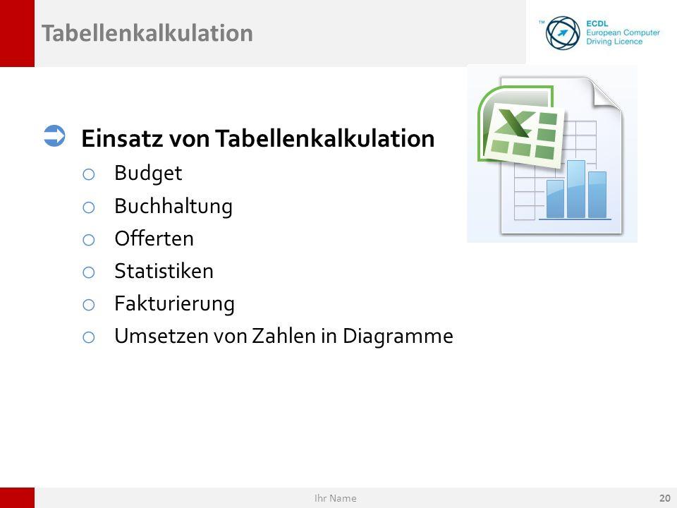Tabellenkalkulation Einsatz von Tabellenkalkulation o Budget o Buchhaltung o Offerten o Statistiken o Fakturierung o Umsetzen von Zahlen in Diagramme
