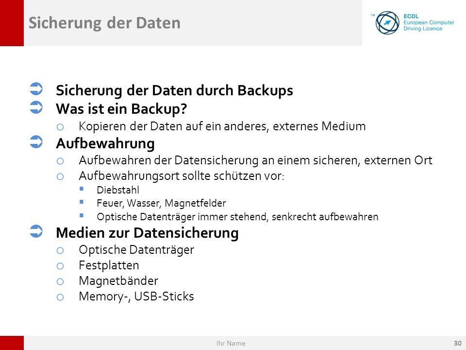 Sicherung der Daten Sicherung der Daten durch Backups Was ist ein Backup? o Kopieren der Daten auf ein anderes, externes Medium Aufbewahrung o Aufbewa
