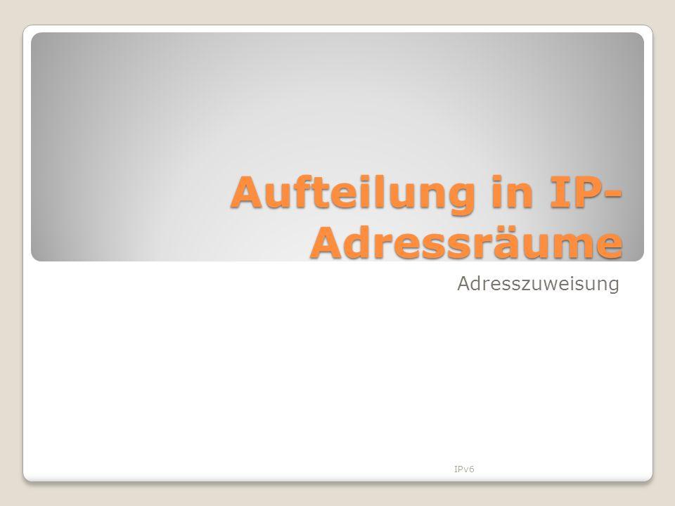Aufteilung in IP- Adressräume Adresszuweisung IPv6
