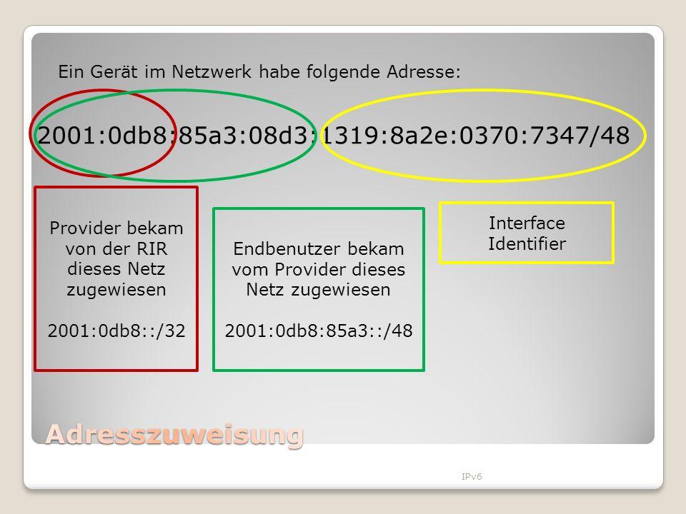 IPv6 Provider bekam von der RIR dieses Netz zugewiesen 2001:0db8::/32 Endbenutzer bekam vom Provider dieses Netz zugewiesen 2001:0db8:85a3::/48 2001:0