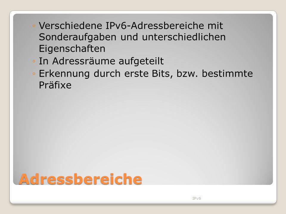 Adressbereiche Verschiedene IPv6-Adressbereiche mit Sonderaufgaben und unterschiedlichen Eigenschaften In Adressräume aufgeteilt Erkennung durch erste
