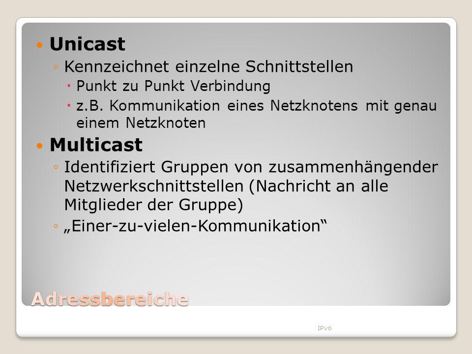 Unicast Kennzeichnet einzelne Schnittstellen Punkt zu Punkt Verbindung z.B. Kommunikation eines Netzknotens mit genau einem Netzknoten Multicast Ident