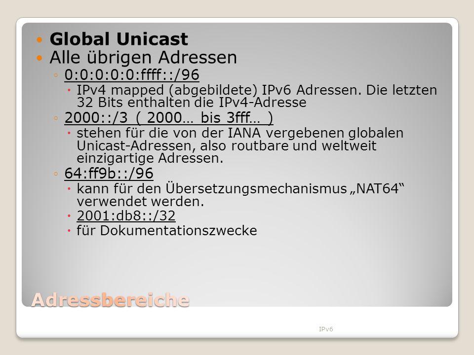 Global Unicast Alle übrigen Adressen 0:0:0:0:0:ffff::/96 IPv4 mapped (abgebildete) IPv6 Adressen. Die letzten 32 Bits enthalten die IPv4-Adresse 2000: