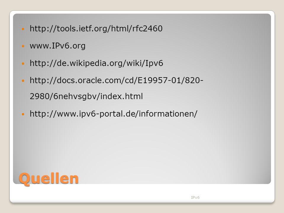 Quellen http://tools.ietf.org/html/rfc2460 www.IPv6.org http://de.wikipedia.org/wiki/Ipv6 http://docs.oracle.com/cd/E19957-01/820- 2980/6nehvsgbv/inde