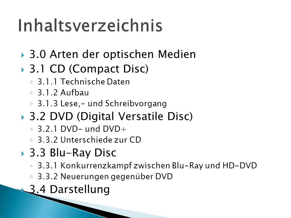 3.0 Arten der optischen Medien 3.1 CD (Compact Disc) 3.1.1 Technische Daten 3.1.2 Aufbau 3.1.3 Lese,- und Schreibvorgang 3.2 DVD (Digital Versatile Di