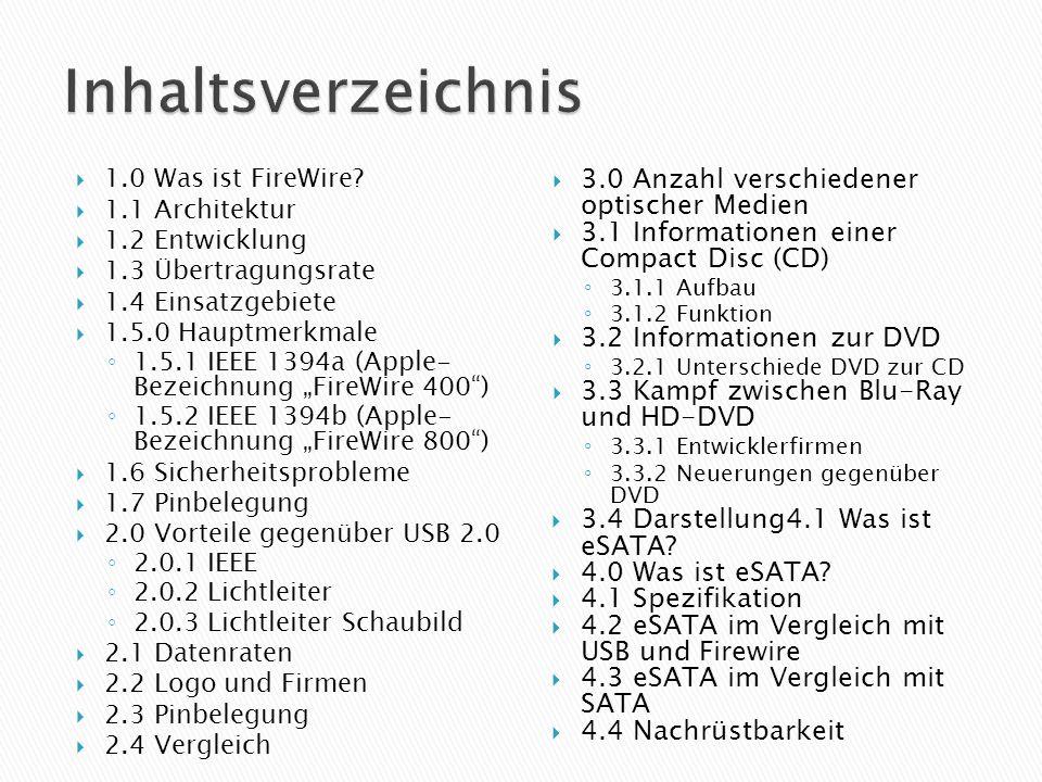 1.0 Was ist FireWire? 1.1 Architektur 1.2 Entwicklung 1.3 Übertragungsrate 1.4 Einsatzgebiete 1.5.0 Hauptmerkmale 1.5.1 IEEE 1394a (Apple- Bezeichnung