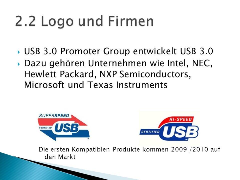 USB 3.0 Promoter Group entwickelt USB 3.0 Dazu gehören Unternehmen wie Intel, NEC, Hewlett Packard, NXP Semiconductors, Microsoft und Texas Instrument